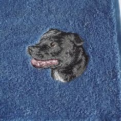 Staffie, Staffordshire Bull Terrier Dog Embroidered Towels, Dog Gift,