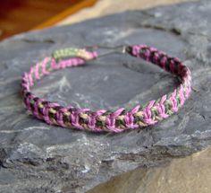 Women's Camo & Pink Hemp Bracelet - Hemp Jewelry - Fish Bone Knot. $7.00, via Etsy.