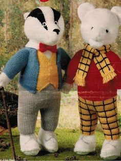 PDF Digital Download Vintage Knitting Pattern to make Brock and Rupert Bear Stuffed Soft Body Toys or Dolls The finished sizes are not stated Knitted