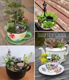 Miniature fairy gardens 377598750000567454 - Do You Have Tea Cups No More Use? Why not convert them into crazy mini fairy garden? Source by homedgninspired Mini Fairy Garden, Fairy Garden Houses, Fairies Garden, Garden Planters, Succulents Garden, Garden Bed, Home Vegetable Garden, Beautiful Fairies, Miniature Fairy Gardens