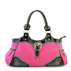 Pink Flower Accent Western Buckle Purse In Stock: $45