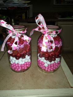 Vday gift for teachers..sixlets,m&ms,Hersey kisses! Mason jar, ribbon and scrapbook paper! Easy easy!
