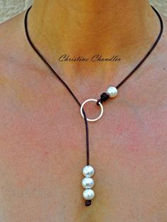 Leather Necklace - Leather Jewelry - Pearl and Leather Necklace Circle of Love with Sterling Silver Hammered Circle - Multi option Necklace