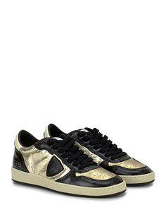 PHILIPPE MODEL PARIS - Sneakers - Donna - Sneaker in pelle e tessuto effetto crack con logo su lato esterno e suola in gomma. Tacco 35, platform 20 con battuta 15. - BLACK\PLATINUM - € 260.00