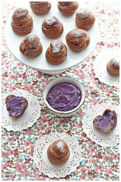 Foodagraphy. By Chelle.: Purple Sweet Potato Choux Puffs (紅芋シュークリーム)