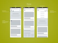 Website mobile wireframes