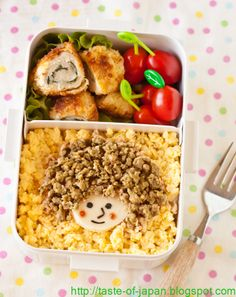 Chicken Soboro Character Bento / Good way to use up chicken