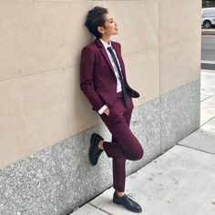 "dappertomboy: ""got the opportunity to whip out this fantastic maroon suit for a work conference! "" dappertomboy: ""got the opportunity to whip out this fantastic maroon suit for a work conference! Tomboy Outfits, Lesbian Outfits, Prom Outfits, Cute Outfits, Tomboy Clothes, Prom Dresses, Queer Fashion, Tomboy Fashion, Look Fashion"