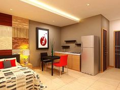 Midori Residences - Properties For Sale In Cebu Condo Design, House Design, Design Homes, Studio Type Condo, Dream Studio, Interior Design Images, Kitchen Items, Apartment Living, Small Living