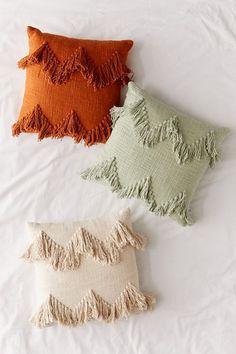 Shop Sadie Fringe Throw Pillow at Urban Outfitters today. Boho Pillows, Diy Pillows, Floor Pillows, Decorative Pillows, Boho Aesthetic, Pillow Inspiration, Fleece Throw, Pillow Design, Chair Design