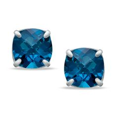 Zales 8.0mm Cushion-Cut Lab-Created Aquamarine Stud Earrings in Sterling Silver 8gHOWLhT