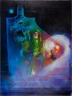 Triple Threat // artwork by Denys Cowan and Bill Sienkiewicz (1988). Featuring Batman, Green Arrow and The Question.
