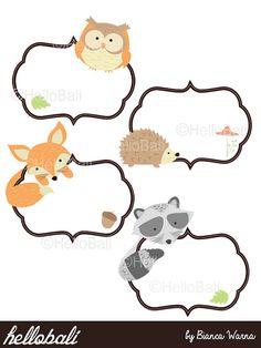 Woodland Label, Forest Animal Friend, Clipart, Scrapbook, Clip Art, Flower…