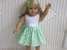 American Girl Dress with Eyelet Lace top and by DollClothesbyTrudy, $10.00