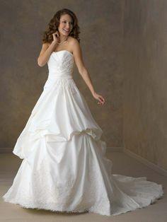 A-Line Taffeta Strapless Wedding Dress