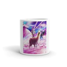 Laser Eyes Outer Space Robot Riding Llama Unicorn Mug Eating Tacos, T Rex Humor, Chicken Eating, Taco Cat, Pizza Cat, Eating Ice Cream, Chicken Nuggets, Cute Mugs
