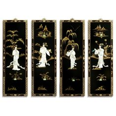 Black Lacquer Wall Plaques with Mother Pearl - Asian - Wall Sculptures - by China Furniture and Arts - chrySSa HomeDecor Asian Wall Decor, Asian Wall Art, Asian Artwork, Asian Home Decor, Black Wall Art, Black Walls, Asian Wall Sculptures, Chinoiserie, Idaho