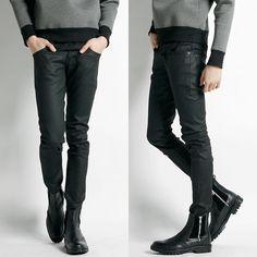Remember Click Black Coated Super Skinny Jeans BLACK S M L Korean Wear #RememberClick #SlimSkinny