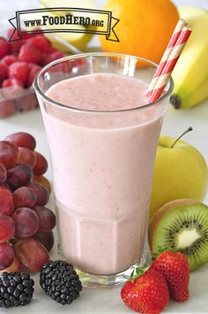 Our Fruit Smoothie 2 (with milk) recipe is made with 2 ingredients, ready in 5 minutes and low in sodium! It is a great way to start off your morning or to enjoy for a ! Strawberry Kiwi Smoothie, Fruit Smoothie Recipes, Smoothie Drinks, Smoothies For Kids, Apple Smoothies, Breakfast Smoothies, Milk Smoothies, Vegetable Smoothies, Easy Smoothies
