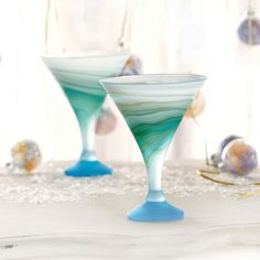 Icy Whirlpool Cocktail Glass // Fair trade glassblown martini glasses // Handcrafted global designs