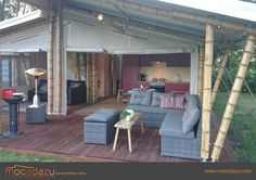 Our Luxury Bamboo Tent at Beringerzand, when completely openend