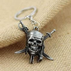 Pirates of the Caribbean keychain Captain Jack Sparrow mask Skull and Crossbones Keyring key chain ring for fans Alternative Measures