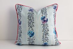 Pink Piped Blue Purple and Black Cushion by cushioncoversbykatie