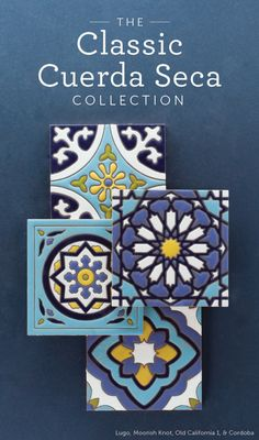Entryway into garage house.with a neutral tiles to go with it. Introducing The Classic Cuerda Seca Collection Glazes For Pottery, Ceramic Pottery, Fireclay Tile, Moroccan Tiles, Handmade Tiles, Moorish, Ceramic Painting, Tile Art, Tile Patterns