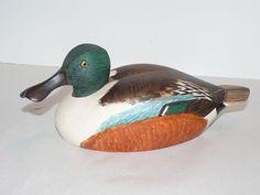 Vintage Signed Shoveler Duck Decoy George W. Csefai (1937-73) Glass Eyes