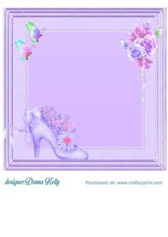 pretty in lilac insert on Craftsuprint designed by Donna Kelly - Approx. 8x8 insert for many occasions, Birthday female, thinking of you,engagement, wedding or wedding. - Now available for download!