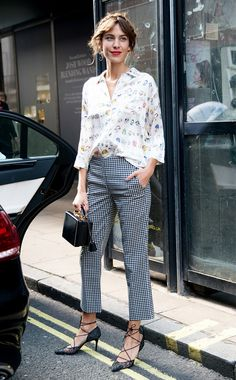 Alexa Chung gives school-girl charm in gingham print trousers and a fun button-down. // #Celebrity #StreetStyle