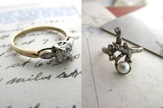 love the pearl  Antique + Affordable Engagement Rings