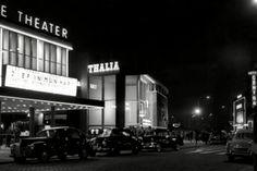 West Kruiskade, Rotterdam '55s, foto Jan Roover.  Thalia, Lumière, Luxor Theater & Hotel Central.