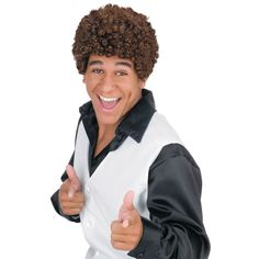 OFF - Jheri Curl Dark Brown Wig : Tight curled afro wig. Gives you that instant disco look. A wig cap is a recommended pairing as it can control hair under wigs (especially longer hair)or spirit gum adhesive can be used to secure the wig to your Jheri Curl, Curly Afro, Afro Wigs, Short Afro, Halloween Costume Accessories, Cool Halloween Costumes, Adult Halloween, Morris Costumes, Tight Curls