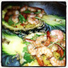 Seafood. Shrimps& ananas