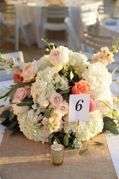 Low and round coral, pink and white hydrangea and rose flower centerpiece {Gulfside Media Photography}