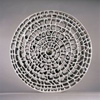 Spiral Wheel, 60 cm (24 in.) in diameter, ball clay with perlite and paper fibers, with white terra sigillata and stains, fired to 1135?C (2075?F) in an electric kiln, 2005.
