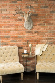 This exposed brick wall, actually the back of the fireplace in the adjacent room, makes a nice backdrop for two tufted velvet chairs.
