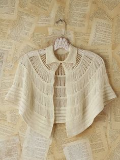 Knit Capelette, but a similar look could be achieved with hairpin lace or broomstick crochet Lace Knitting, Knitting Stitches, Knitting Designs, Hairpin Lace Crochet, Crochet Shawl, Crochet Capas, Broomstick Lace, Free People Clothing, Lace Outfit
