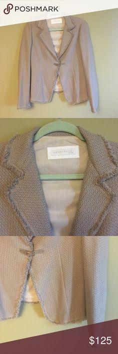 Fabiana Filippi gray cotton knit blazer Only worn once, very elegant knit blazer with a cute mini-belt enclosure! 100 % cotton. Made in Italy. Fabiana Filippi Jackets & Coats Blazers