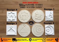 Muslim Islamic Embossing for cupcake and cake - stamps sugar paste EID MUBARAK Eid Cupcakes, Ramadan Sweets, Ramadan Decorations, Cupcake Frosting, Sugar Paste, Cookie Designs, Eid Mubarak, Fondant Cakes, Cookie Cutters