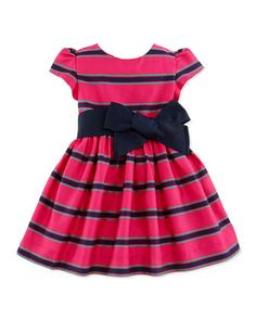 Striped Cotton-Sateen Dress, Pink Multi, 9-24 Months  by Ralph Lauren Childrenswear at Neiman Marcus.