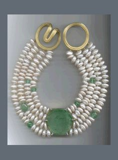 N-2867 Emerald Hexagon plate, beads and Diamond baguettes, coin Pearls and Ridged Angela clasp, 18K white and yellow Gold