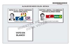 Tarjetón de elección para Alcalde de Nuevo Colón