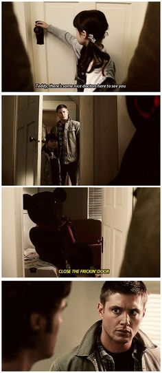 Supernatural 4x08 Wishful Thinking #SPN #Dean #Sam // A friggin\' suicidal teddy bear?! Any other show, the \'shark\' would have been officially \'jumped\' at this point...but nooo, this is Supernatural! For us, this is only Season 4! Bwah hahahah!!