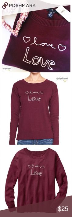 "Maroon GAP Love Sweater This super soft and cute crew neck sweater by GAP is the perfect cool weather top! Pretty maroon color with an adorable white stitching of ""love, Love"" and hearts.  Straight silhouette with an easy, comfortable fit. Available in XS, M, L. Brand NEW with tags!! GAP Sweaters Crew & Scoop Necks"