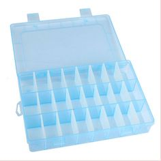 Blue Plastic 24 Slots Compartment Earrings  Jewelry Beads Storage Box Case Organizer #Affiliate
