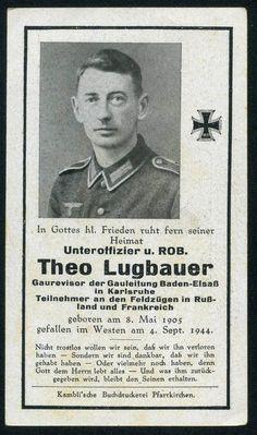 orig WK2 STERBEBILD - DEATH CARD - Offiziers Bewerber -Westfront Frankreich 1944