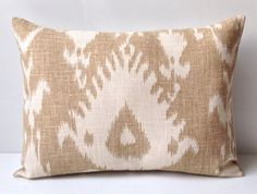 Ikat Pillow Decorative Throw Pillow Cover Neutral Beige Pillow Cushio