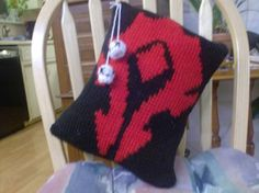 Tunisian Crocheted Horde Pillow with Alliance skulls - WOW inspired | Craftster Organized Swap 2010 | WoW (World of Warcraft) Swap Gallery